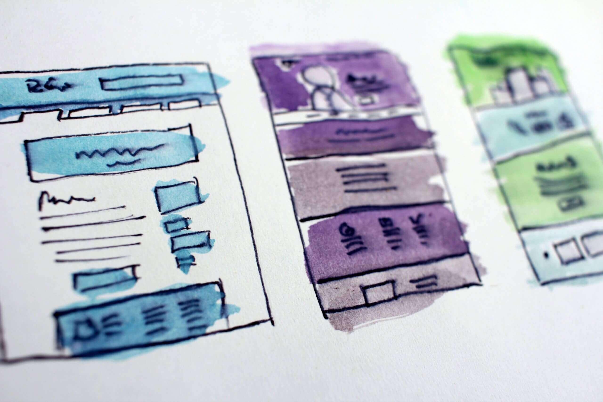 Kleurrijke schets van wireframes. Behaal een hoger rendement door te investeren in design.