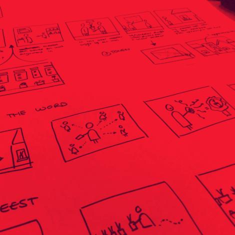 Schetsen gemaakt tijdens een design thinking workshop.