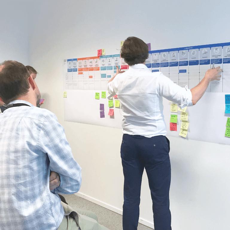 Foto van een workshop bij Studio Dott. Onze service designer Jürgen Tanghe geeft uitleg bij verschillende templates en charts die aan de muur hangen.