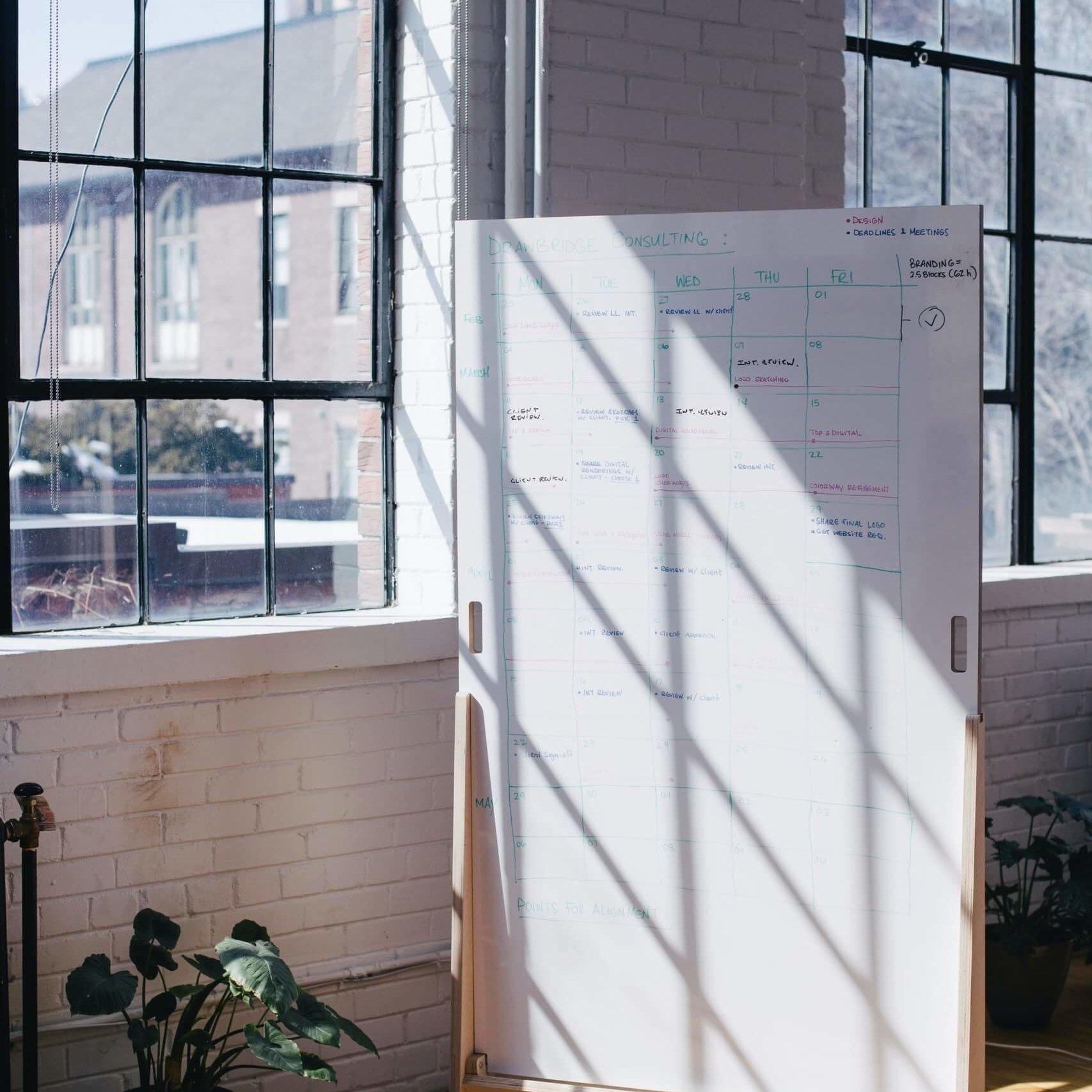 White board met ideeën voor een nieuwe merknaam.